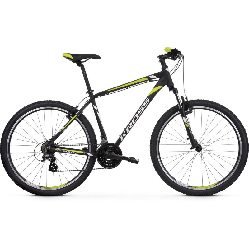 "Bicicleta Kross Hexagon 2.0 26"" 2021 negru/alb/lime"