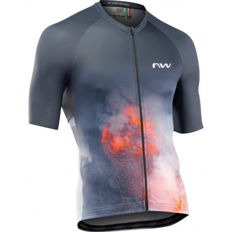 Tricou ciclism NORTHWAVE ELEMENTS FIRE antracit/rosu